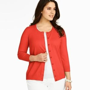 TALBOTS Charming Orange Poppy Cardigan